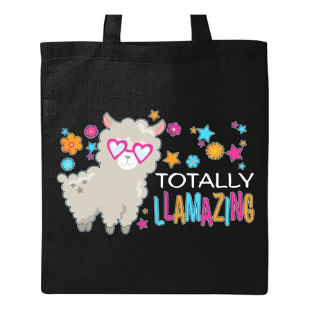 Cute Tote Bags (Totally Llamazing- cute llama with sunglasses Tote Bag Black One)