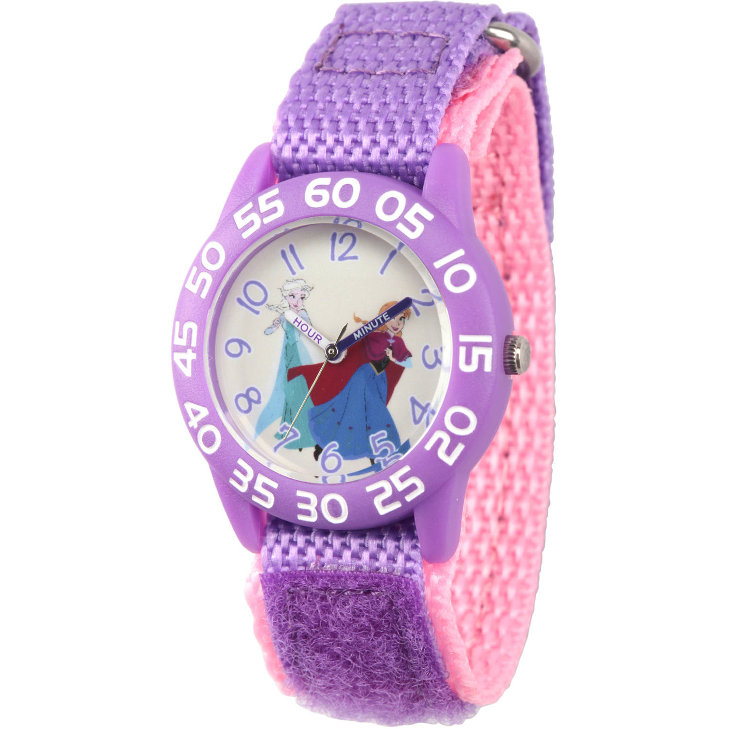 Disney Frozen Elsa and Anna Girls' Clear Purple Time Teacher Watch, Purple Hook and Loop Nylon Strap with Pink Backing