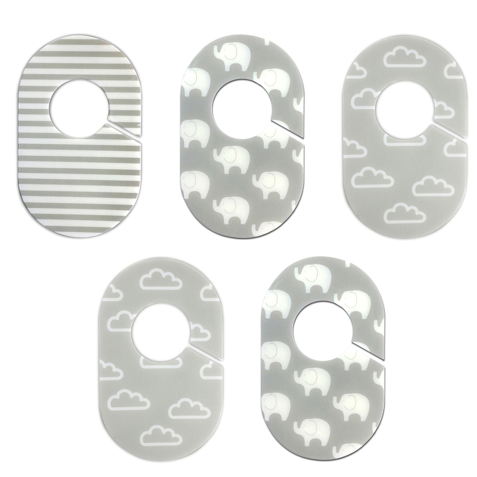 Little Haven Nursery Closet Organizers Dividers - Gray and White Elephant and Cloud Designs - Set of 5 Plastic Baby Closet Rod Dividers