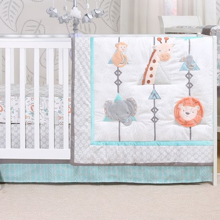 Safari Adventure 4 Piece Jungle Animal Theme Baby Crib Bedding Set