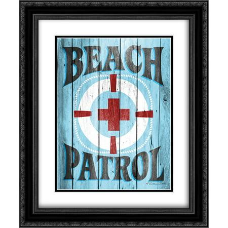 Beach Patrol 2x Matted 20x24 Black Ornate Framed Art Print by Ball, Susan (Black Beach Ball)