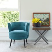 angelo:Home Lily Upholstered Midnight Paris Sky Blue Barrel Chair