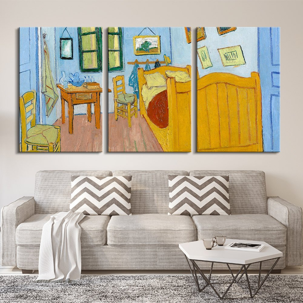 "wall26 3 Panel Canvas Wall Art - The Bedroom by Vincent Van Gogh - Giclee Print Gallery Wrap Modern Home Decor Ready to Hang - 24""x36"" x 3 Panels"