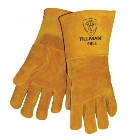 Tillman X-Large 14'' Brown Reverse Grain Pigskin Cotton/Foam Premium Grade Stick Welders Gloves With Welted Finger And Kevlar Lock Stitching (Carded)