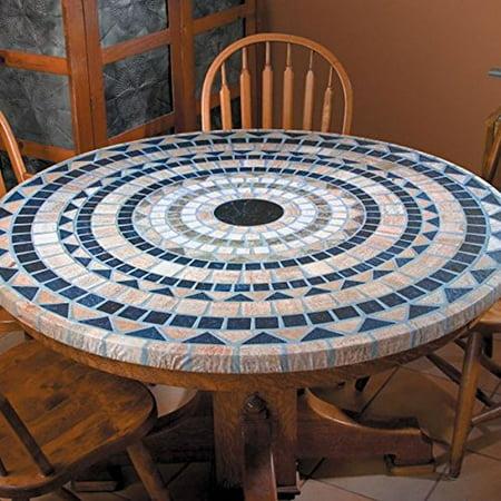 Elasticized Mosaic Table Cover 48 In Vesuvius Heavy Duty Vinyl