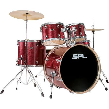 Vintage Birch Drum Set (Sound Percussion Labs Unity Birch Series 5-Piece Complete Drum Set Red Mist)