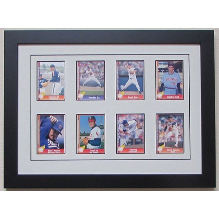 Trading Card Display Frame 8 Cards Black Wood Frame With Matting And Card Mounts White
