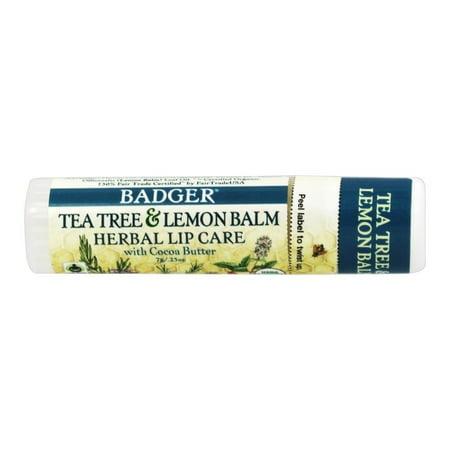 Badger - Certified Organic Herbal Lip Balm Stick Tea Tree & Lemon Balm with Cocoa Butter - 0.25 oz.