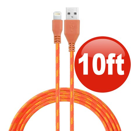 10 ft. Eco-Friendly Braided Nylon Fiber Lightning Connector to USB Charge and Sync Cable - Orange 125 Orange Fiber Cable