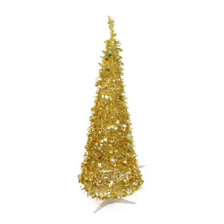 6 39 pre lit pop up gold tinsel artificial christmas tree. Black Bedroom Furniture Sets. Home Design Ideas