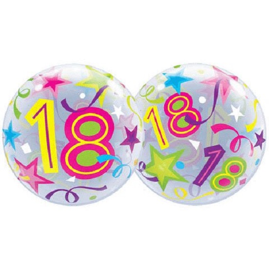 "22"" Bubbles 18 Brilliant Stars Birthday Stretchy Plastic Balloon Party"