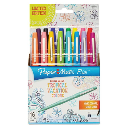 Paper Mate Point Guard Flair Bullet Point Stick Pen, Tropical Inks, .7mm, 16/Set -PAP1928607](Ink Pens)