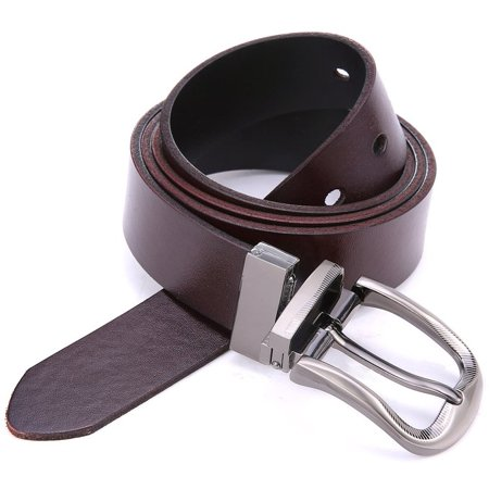 Marino's Men's Genuine Leather Reversible Brown/Black Belt with Removable Scratch Resistant Buckle - (Scratch Proof Belt)