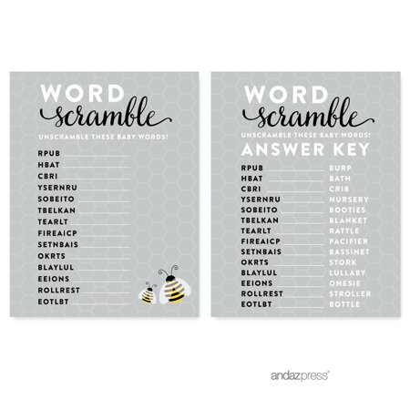 Word Scramble  Mama to Bee Bumblebee Gender Neutral Baby Shower Games , 20-Pack