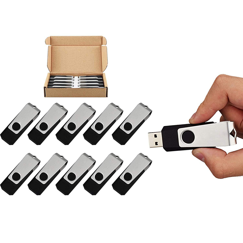 KOOTION 10PCS 128MB Bulk USB 2.0 Flash Drive Swivel Memory Stick Thumb Drives Pen Drive, Black