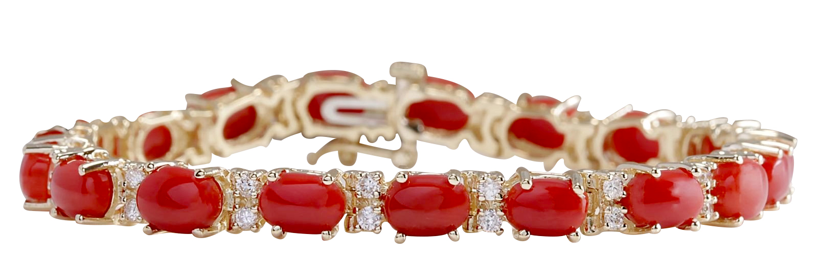 18.44CTW Natural Red Coral And Diamond Bracelet In 14K Solid Yellow Gold by