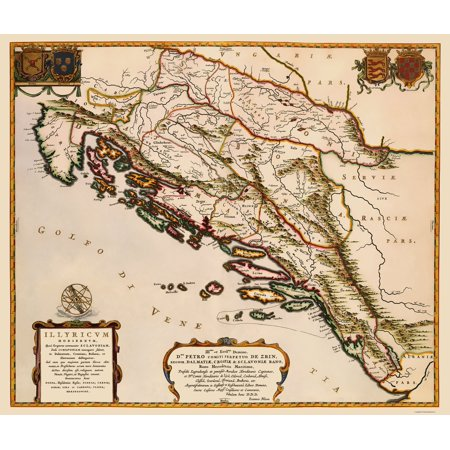Old Eastern Europe Map - Balkan Peninsula - Blaeu 1663 - 23 x 27.16 ...