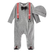 First Impressions Infant Boys 2 PC Plush Suspender Jumpsuit Sleeper & Hat Outfit
