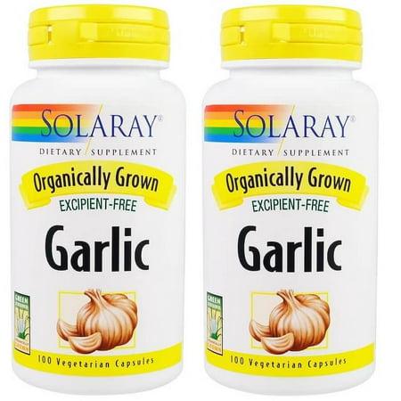 Solaray - Organic Garlic, 600 mg, 100 Veggie Caps - 2 Packs