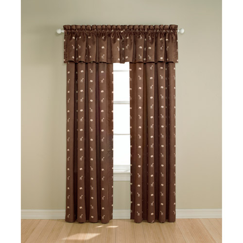 Perfect Darkness - Suede Black-Out Curtain Panel, Jungle Print Chocolate