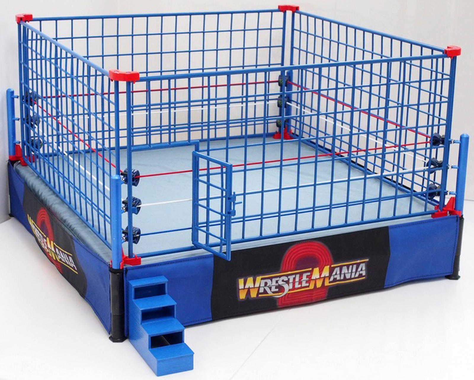 (All-in-One Combo) Authentic Scale Ring w  WWE Classic Blue Cage Playset by