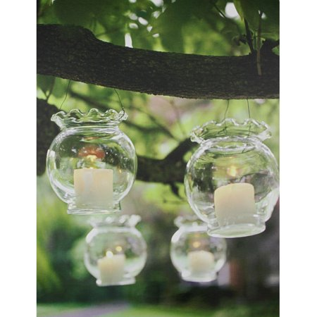 LED Lighted Flickering Garden Party Hanging Glass Candles Canvas Wall Art 15.75