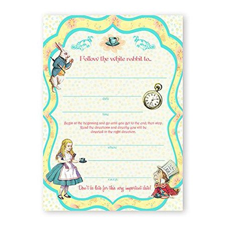 Alice In Wonderland LARGE Invitations - 10 Invitations + 10 Envelopes for $<!---->