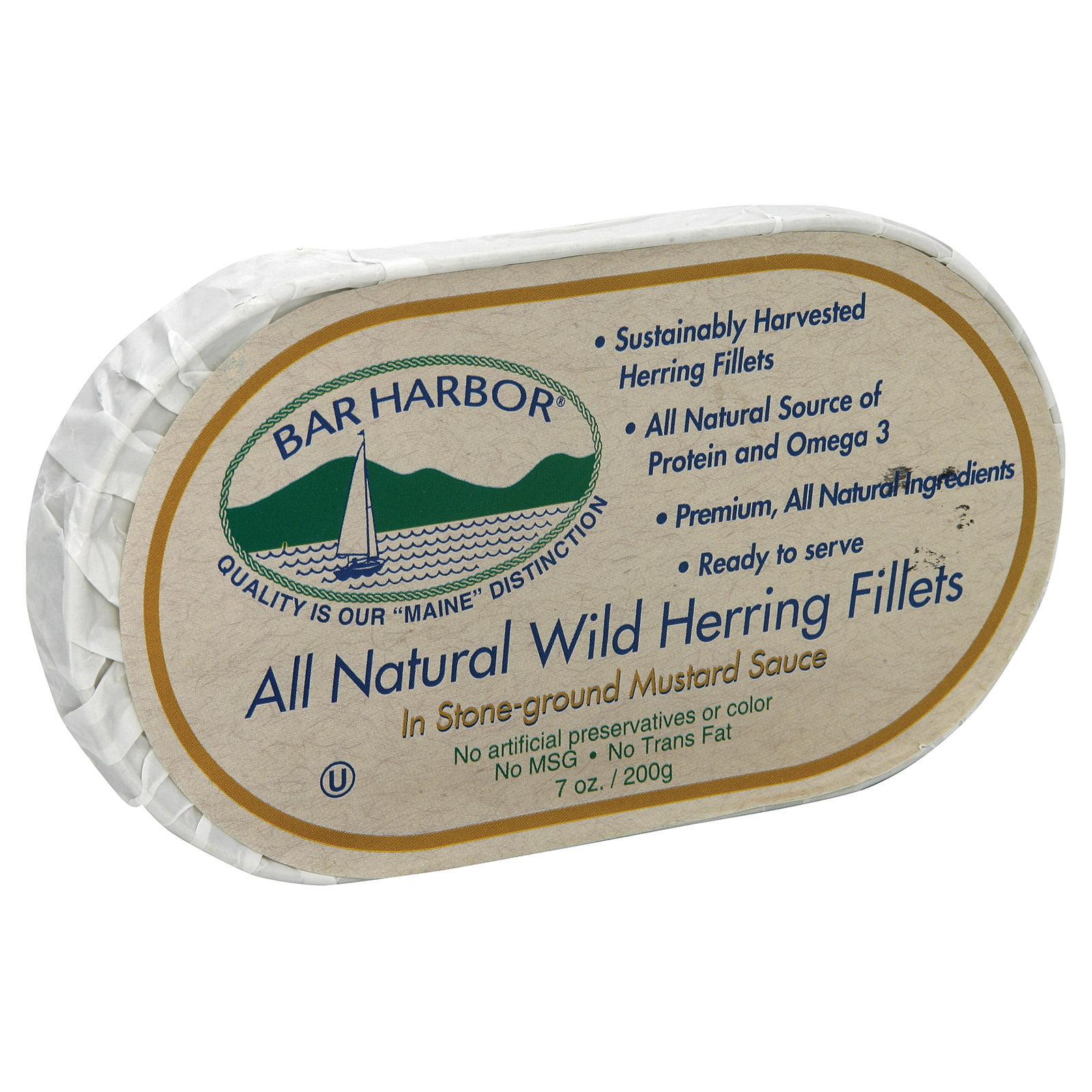 Bar Harbor Wild Herring Fillets Stone Ground Mustard Sauce Case of 12 7 oz. by