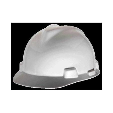 Msa White V Gard Polyethylene Standard Slotted Cap Style Hard Hat With Fas Trac 4 Point Ratchet Suspension