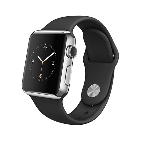 Apple Watch Stainless Steel Case (38mm, Black Sport Band, UK)