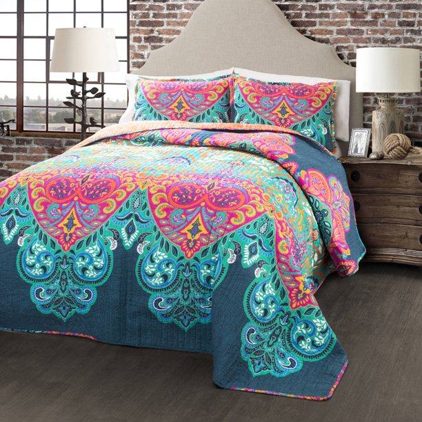 Boho Chic 3 Piece Full/Queen Quilt Set by Lush Decor