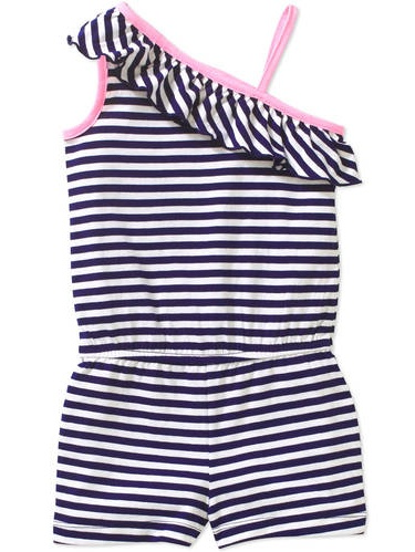Healthtex Baby Toddler Girls' Asymmetrical Knit Romper