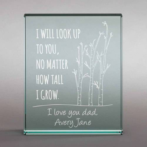 Personalized I Will Look Up To You Glass Keepsake - Gift for Dad