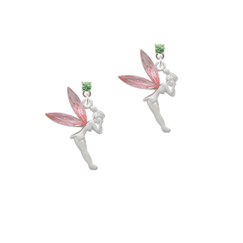 Fairy with Pink Crystal Wings - Lime Green Crystal Post Earrings