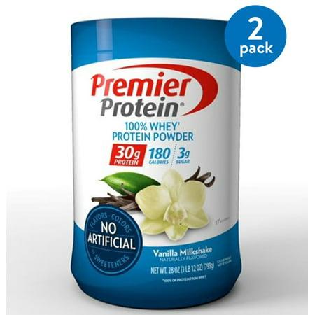 (2 Pack) Premier Protein 100% Whey Protein Powder, Vanilla Milkshake, 30g Protein, 1.75 Lb (180 Protein)