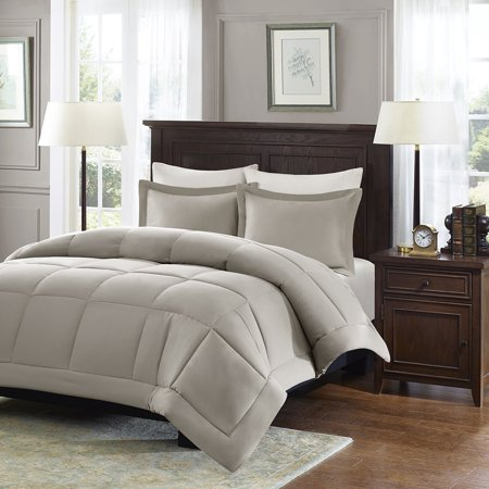 Sarasota Microcell Down Alternative Comforter Mini Set, Twin, Taupe, Set includes: 1 comforter, 1 standard sham By Madison