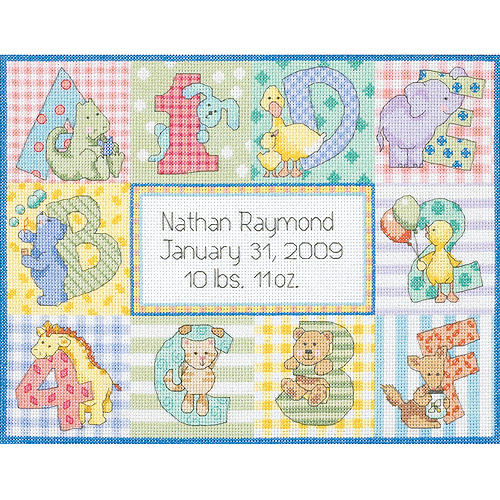 "Dimensions Baby Hugs ""Zoo Alphabet"" Birth Record Counted Cross Stitch Kit, 14ct, 12"" x 9"""