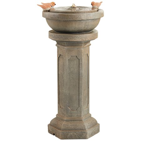 John Timberland Bird Bath Outdoor Floor Water Bubbler Fountain with Light LED 25