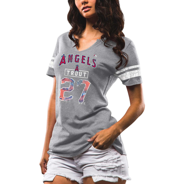 Mike Trout Los Angeles Angels Majestic Women's Knucklecurve V-Notch Tri-Blend T-Shirt - Gray