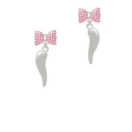 Good Luck Italian Horn Pink Bella Bow Crystal Earrings