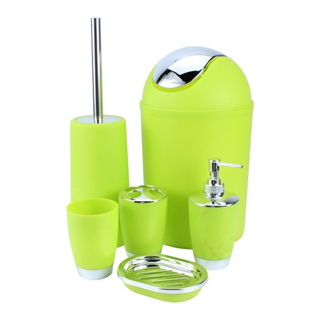 Tmishion Bathroom Accessories Set 6 Piece Plastic Accessory Soap Dispenser Lotion