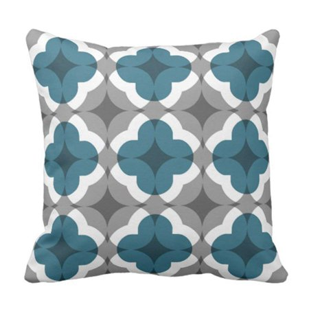 ARTJIA Lovely White Floral Clover Pattern in Teal and Grey Gray Designer Pillowcase Cushion Cover 20x20 inches
