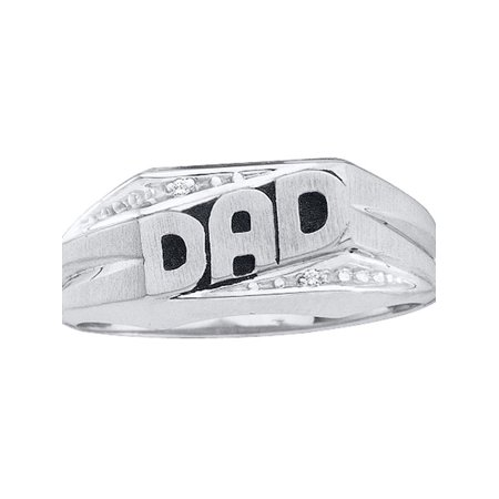 14kt White Gold Mens Round Diamond Dad Father Ring .01 Cttw - image 1 de 1