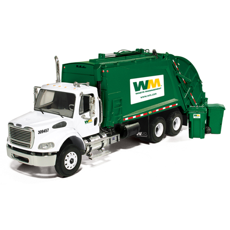 Freightliner MR Rear Load Refuse Garbage Truck Waste Management With Bins Diecast Model 1/34 by First (Diecast Statue)