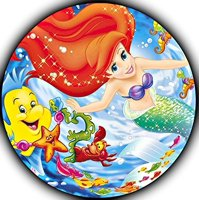 "The Little Mermaid Ariel Image Photo Sugar Frosting Icing Cake Topper Sheet Personalized Custom Customized Birthday Party - 8"" Round - 75706"