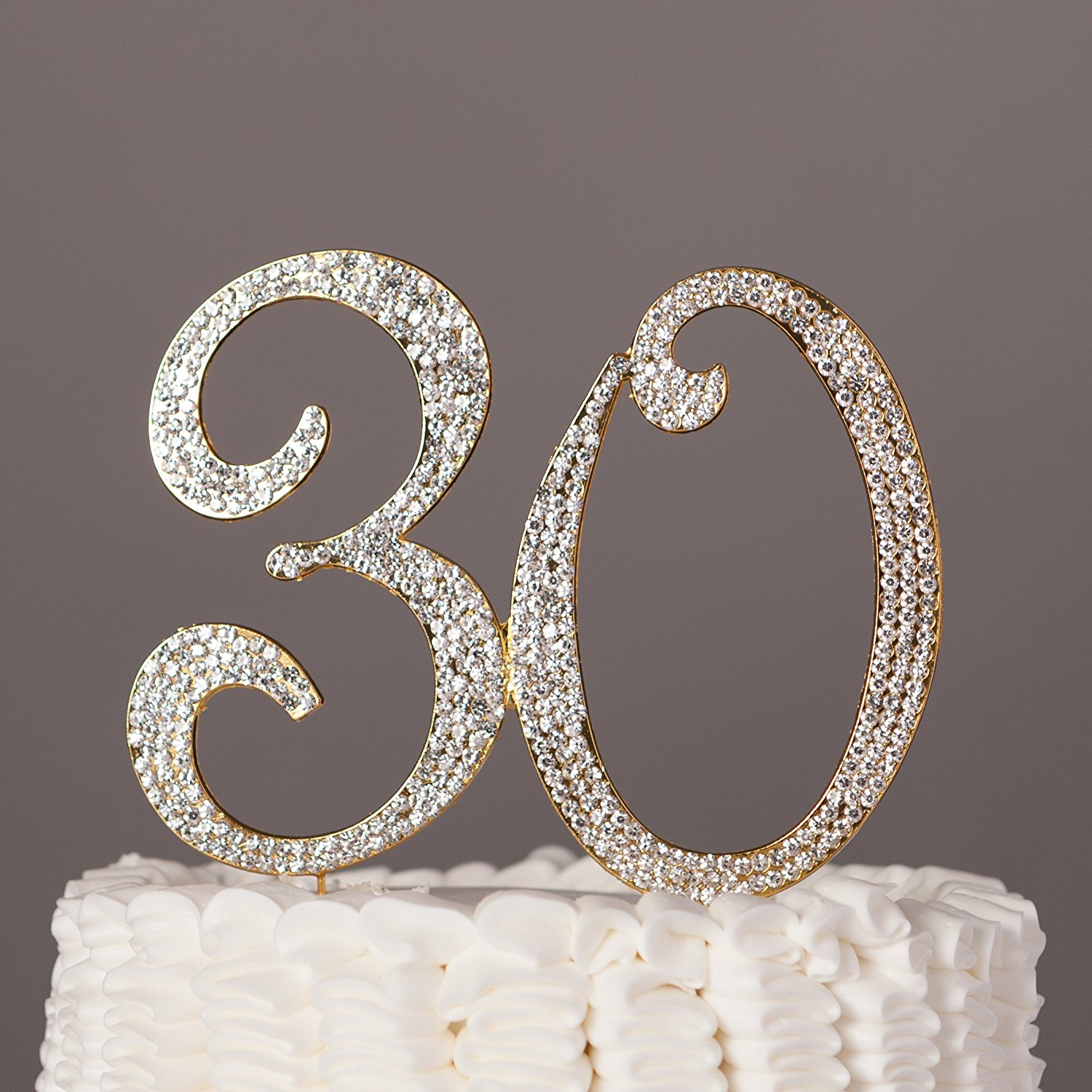 30 Cake Topper for 30th Birthday or Anniversary Silver Crystal Rhinestone Party Decoration (Silver)