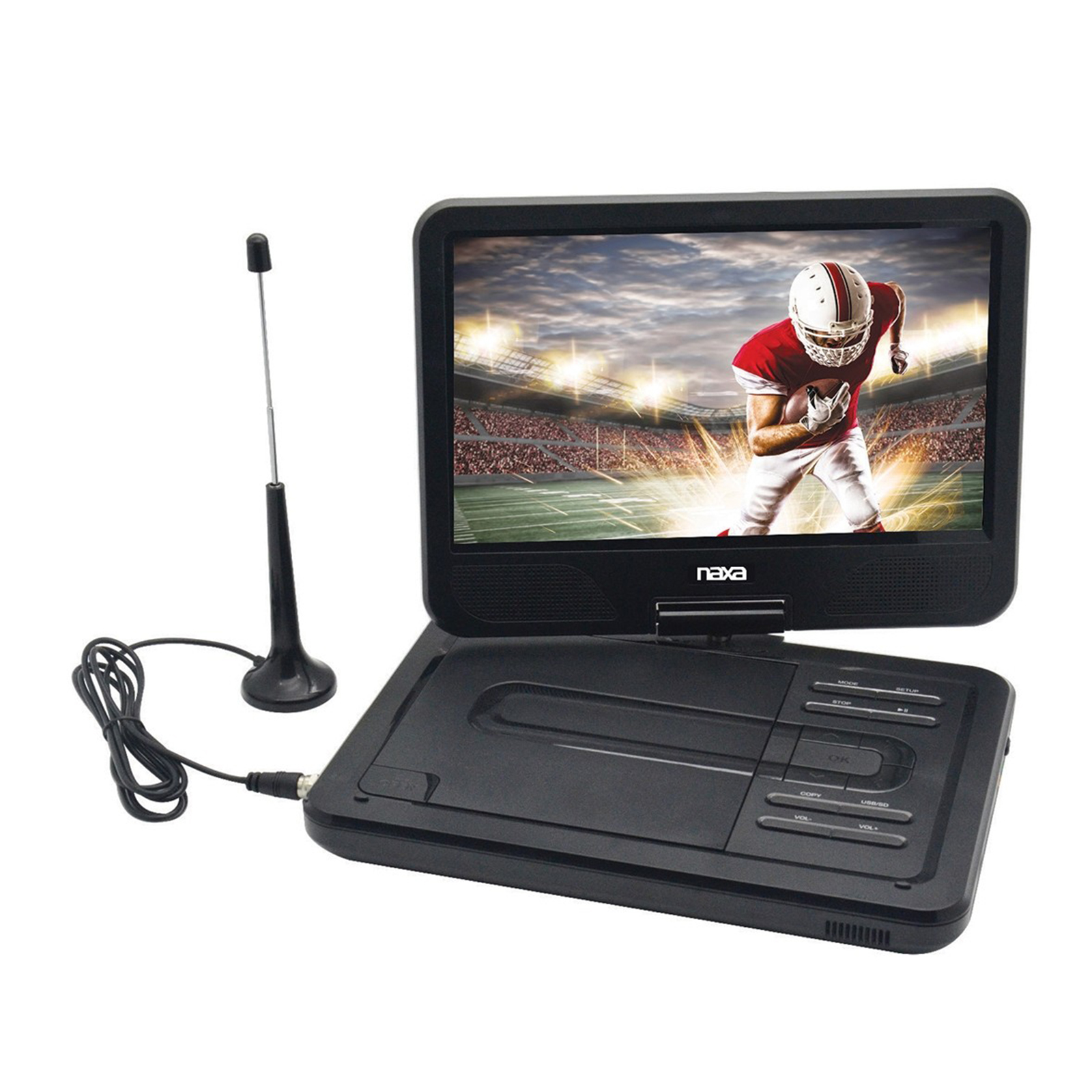 NAXA NPDT-1000 10' TFT LCD Swivel Screen Portable DVD Player with TV, USB/SD/MMC Inputs