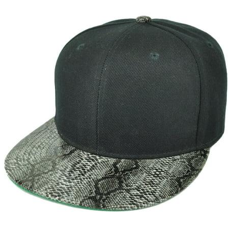 Headlines - Black Blank Plain Solid Panel Faux Snake Skin Flat Visor  Snapback Hat Cap Animal - Walmart.com 6e4c9a0e777
