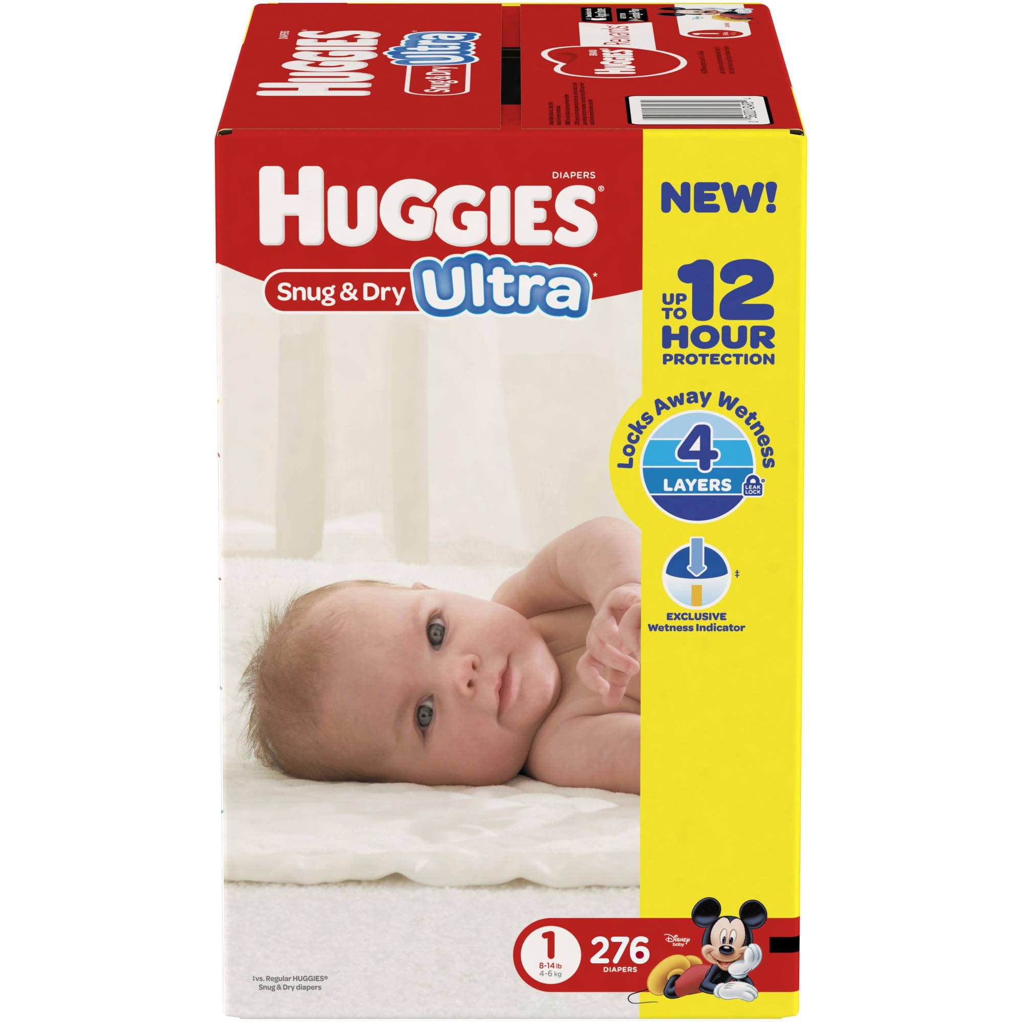 HUGGIES Snug & Dry Ultra Diapers, Size 1 (Choose Diaper Count ...