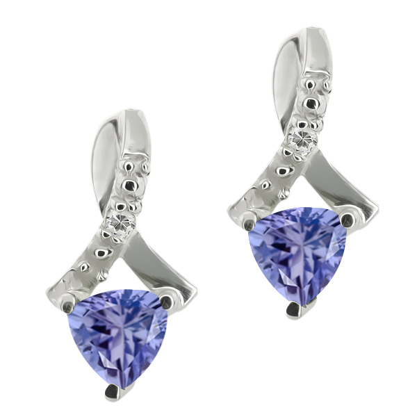 0.44 Ct Trillion Blue Tanzanite and White Topaz 18k White Gold Earrings by